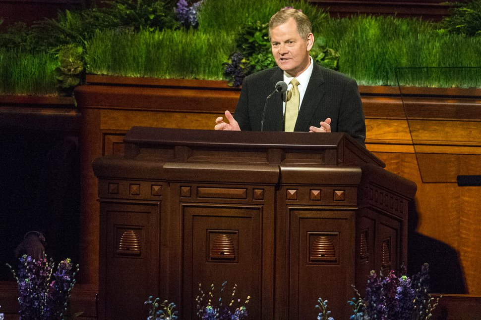 (Chris Detrick | The Salt Lake Tribune) Gary E. Stevenson, Quorum of the Twelve Apostles, speaks during the morning session of the 186th LDS General Conference at the Conference Center in Salt Lake City, Saturday, April 2, 2016.