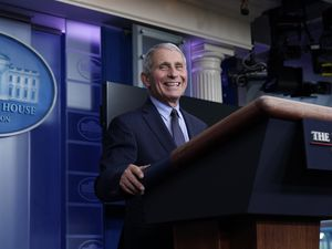 (AP Photo/Alex Brandon) FILE - Dr. Anthony Fauci, director of the National Institute of Allergy and Infectious Diseases, laughs while speaking in the James Brady Press Briefing Room at the White House, Thursday, Jan. 21, 2021, in Washington. The American Humanist Association announced Thursday that Dr. Anthony S. Fauci is its 2021 Humanist of the Year.