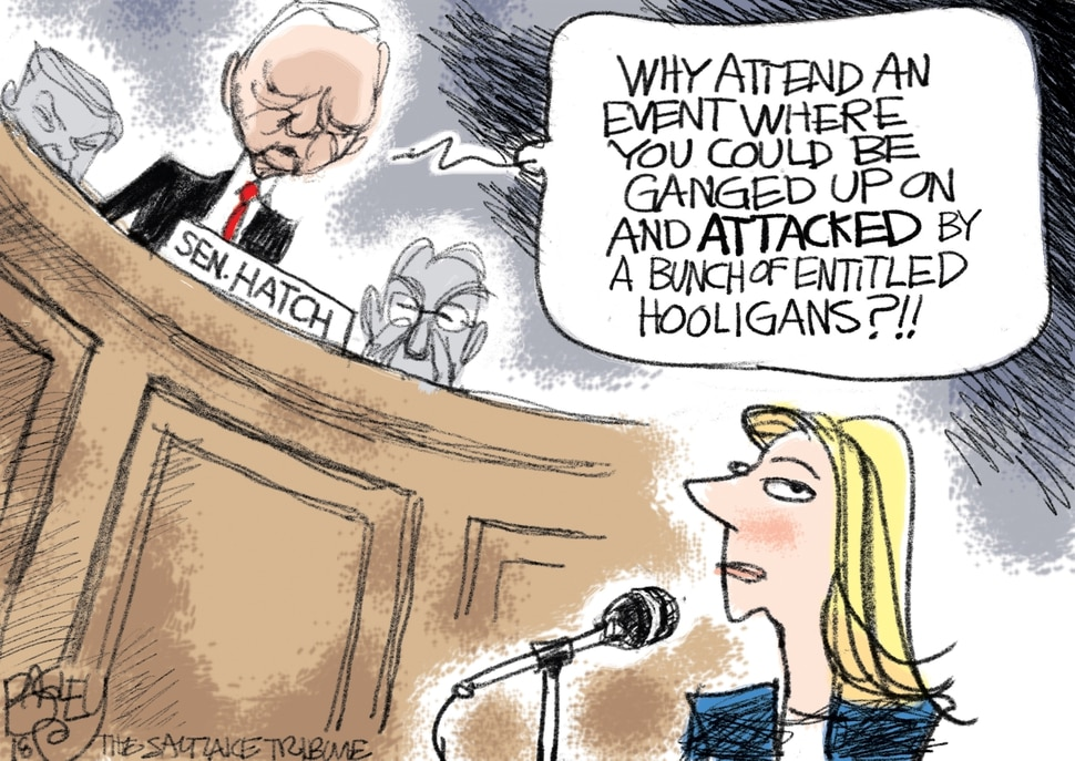 This Pat Bagley cartoon appears in The Salt Lake Tribune on Thursday, Sept. 27, 2018.