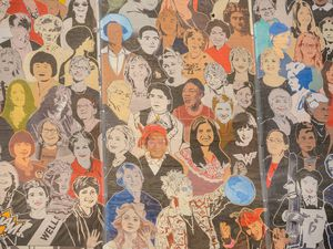 """(Trent Nelson     The Salt Lake Tribune) A detail from the new """"Utah Women 2020"""" Mural, featuring 268 Utah women from the past and present, on the Dinwoodey building in Salt Lake City on Wednesday, Aug. 26, 2020."""