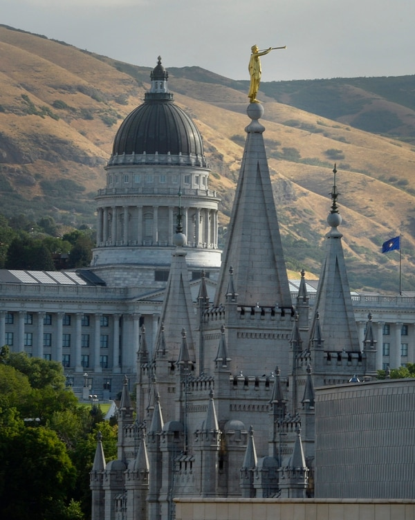 Scott Sommerdorf | The Salt Lake Tribune The Salt Lake LDS Temple and the Utah Capitol are seen together, Wednesday, July 26, 2017.