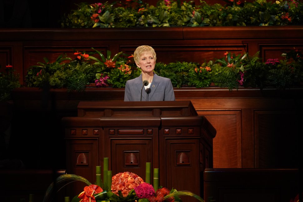 (Courtesy photo of The Church of Jesus Christ of Latter-day Saints) Jean B. Bingham, president of the female Relief Society of The Church of Jesus Christ of Latter-day Saints, conducts the women's General Conference session Oct. 6, 2018.