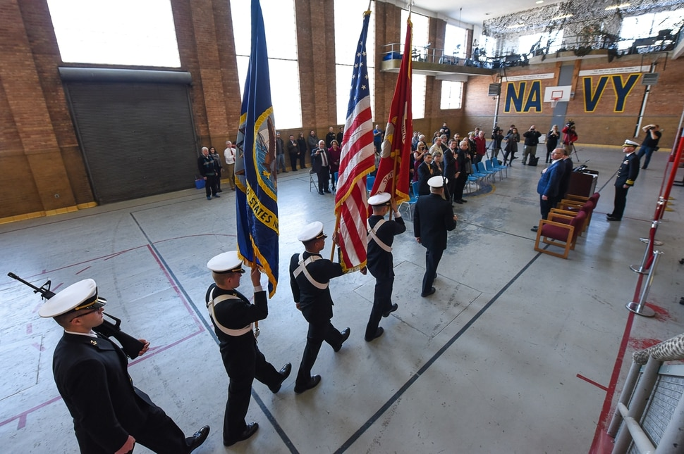 (Francisco Kjolseth | The Salt Lake Tribune) The University of Utah NROTC color guard begins the ceremony to mark the return of the bell from the USS Utah to the Naval Science building, built in 1945, on the University of Utah campus. The USS Utah which saw action in WWI was one of the first ships lost during the attack on Pearl Harbor on Dec. 7, 1941.