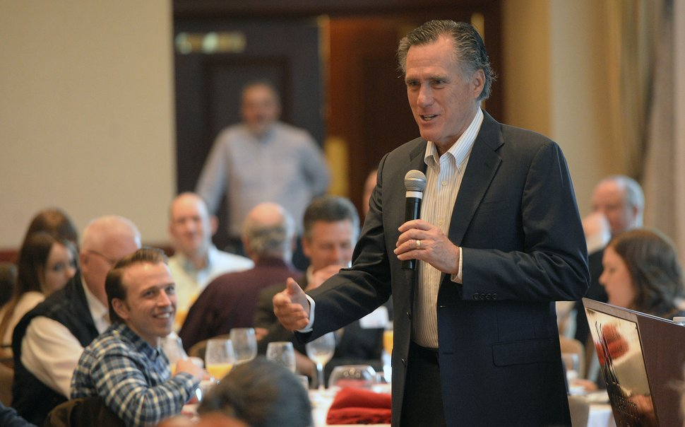 (Al Hartmann | Tribune file photo) Republican Senate candidate Mitt Romney speaks and answers questions at an informal breakfast with state delegates, March 28, 2018, in Salt Lake City.