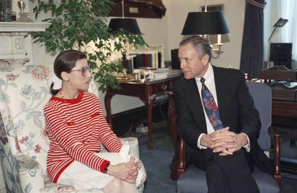 (Marcy Nighswander | AP Photo) Federal Appeals Judge Ruth Bader Ginsburg meets with Sen. Orrin Hatch, R-Utah, ranking Republican of the Senate Judiciary Committee, on Tuesday, June 15, 1993 on Capitol Hill. The judge went to Capitol Hill Tuesday to pay a courtesy call on the senators who will vote on her nomination. Ginsburg is President Bill Clinton's choice to fill the vacant Supreme Court seat of Byron White.