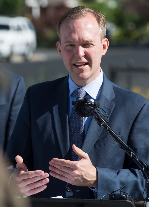 (Rick Egan | Tribune file photo) Salt Lake County Mayor Ben McAdams says a few words as South Salt Lake and other dignitaries met to break ground on construction of UTA's S-Line double track project, on 300 East and 2233 South, Monday, June 11, 2018.