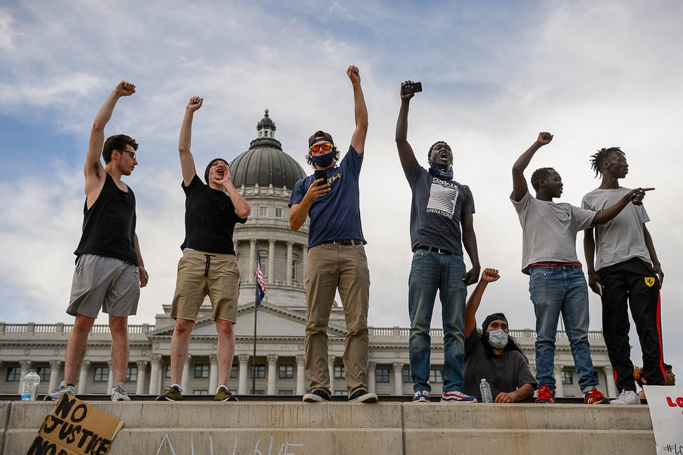 (Trent Nelson | The Salt Lake Tribune) Protestors rally against police brutality at the State Capitol in Salt Lake City on Saturday, May 30, 2020.