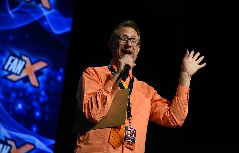 (Francisco Kjolseth | The Salt Lake Tribune) Chris Provost emcees during the start of FanX Salt Lake Comic Convention at the Salt Palace in Salt Lake City Thursday, Sept. 6, 2018.