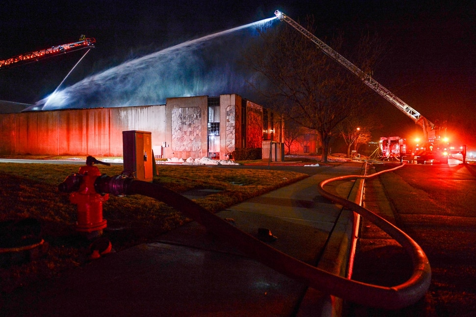 (Francisco Kjolseth | The Salt Lake Tribune) Crews from multiple agencies battled a fire Sunday night that broke out at South Valley Specialties at 9320 S. 547 West in Sandy. The building, where the company makes custom rubber moldings and other products, was declared a complete loss. The cause of the blaze is under investigation.