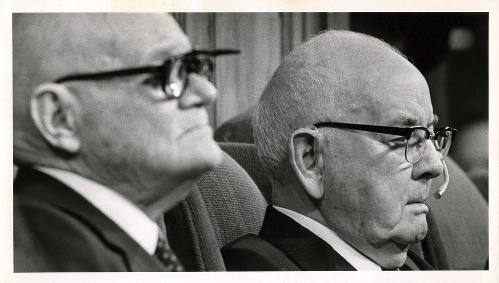 (Tribune file photo) Spencer W. Kimball, right, president of The Church of Jesus Christ of Latter-day Saints, presides over a session of General Conference in October 1978, with counselor Marion G. Romney.
