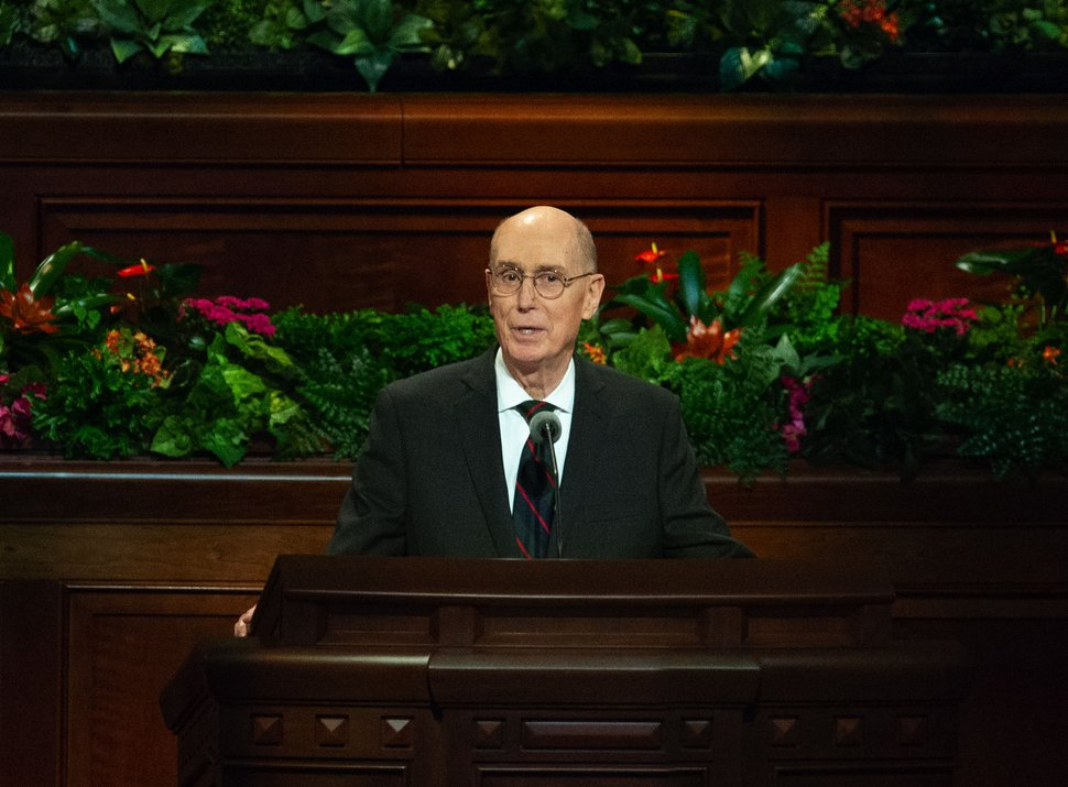 (Keith Johnson | Special to The Tribune) President Henry B. Eyring, second counselor in the governing First Presidency, speaks during the 188th Semiannual General Conference of The Church of Jesus Christ of Latter-day Saints on Oct. 7, 2018, in Salt Lake City.