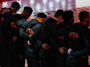 (Francisco Kjolseth | The Salt Lake Tribune) The Utah Jazz come together at the start of their game against the Portland Trail Blazers, at Vivint Smart Home Arena, on Wednesday, May 12, 2021.