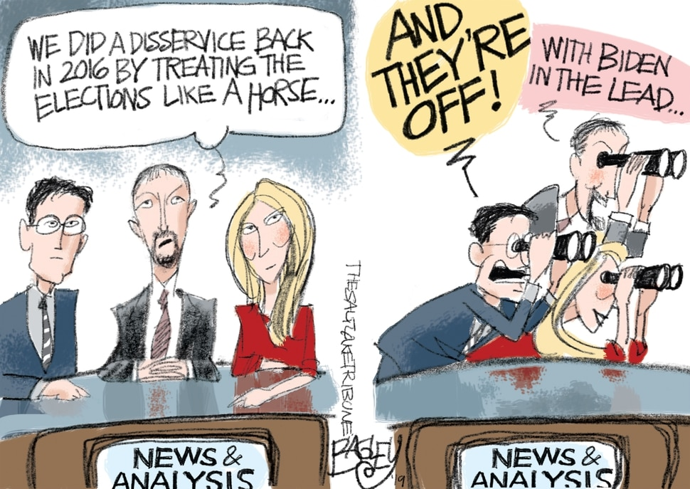 (Pat Bagley | The Salt Lake Tribune) This Pat Bagley cartoon titled Fatuous News appears in The Salt Lake Tribune on Wednesday, May 1, 2019.
