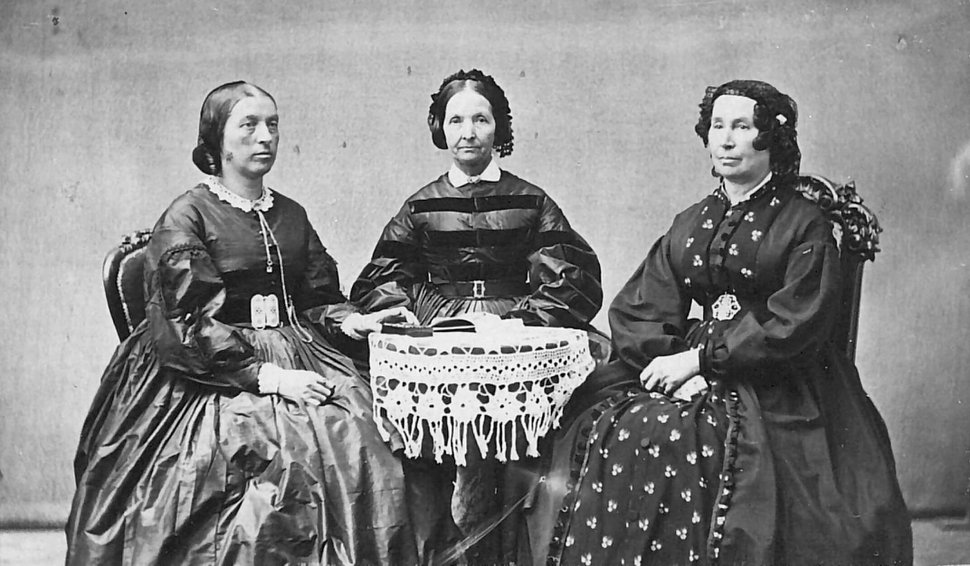 (photo courtesy Church History Library) Left to right: Elizabeth A. Howard, Eliza R. Snow, and Hannah T. King circa 1865-1873.