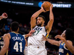 (Trent Nelson     The Salt Lake Tribune) Utah Jazz center Rudy Gobert (27) as the Utah Jazz host the New Orleans Pelicans, NBA basketball in Salt Lake City on Monday, Oct. 11, 2021.