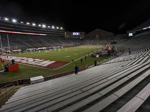 The stands at Camp Randall Stadium are empty during the first half of an NCAA college football game between Wisconsin and Illinois Friday, Oct. 23, 2020, in Madison, Wis. (AP Photo/Morry Gash)