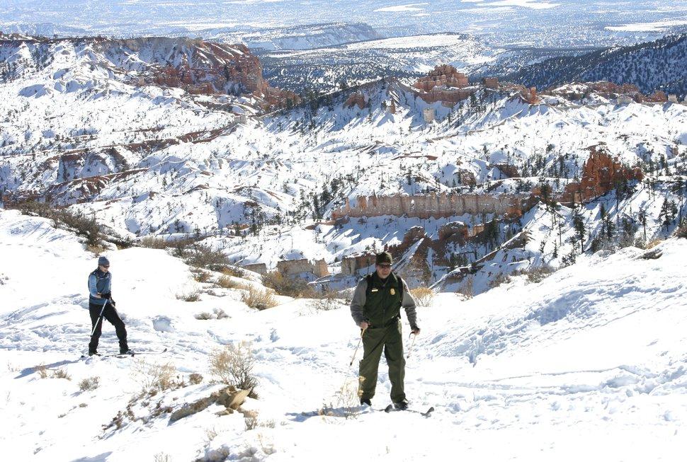 Rick Egan | The Salt Lake Tribune | Mark and Shoshanna Hnat cross country ski at Bryce Canyon National Park in 2010.