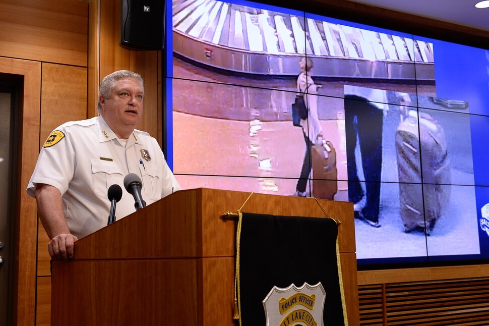 (Francisco Kjolseth | The Salt Lake Tribune) Salt Lake City Assistant Police Chief Tim Doubt speaks at a press conference at the Public Safety Building in Salt Lake City on Tuesday, June 25, 2019, as he provides the last image taken of missing 23-year-old MacKenzie Lueck taken at the airport.