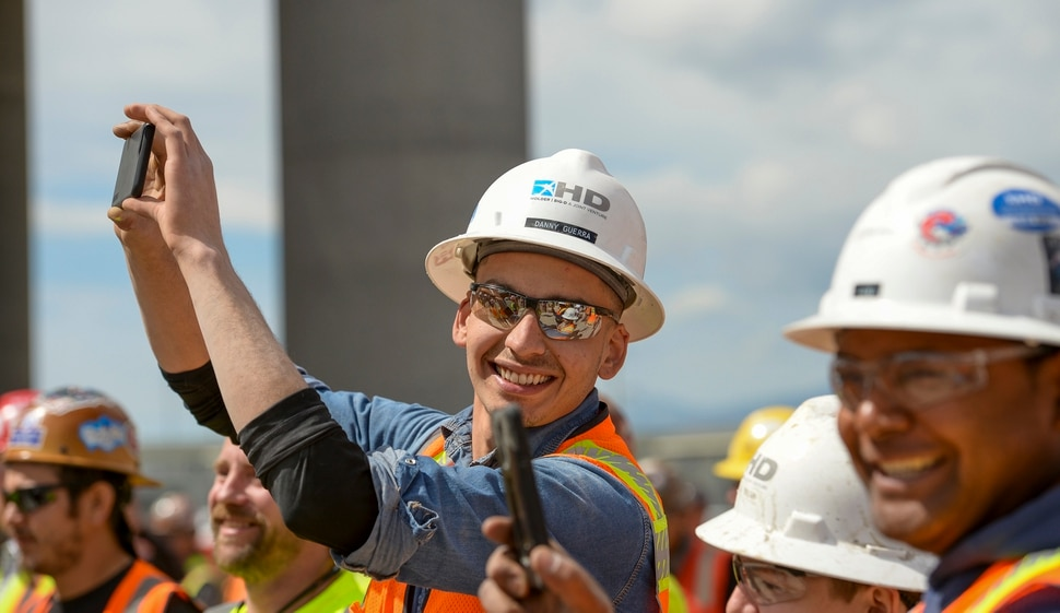 (Leah Hogsten | The Salt Lake Tribune) Danny Guerra and his colleagues have participated constructing the new $485 million, 866,087 square foot, Salt Lake City International terminal building, Tuesday, May 22, 2018. Utah leads the nation in job growth by percentage over the last 12 months in construction, which saw a 6.2 increase in the number of jobs.