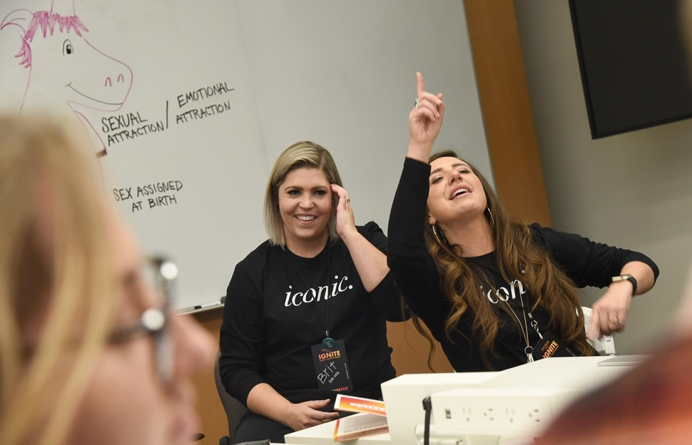 (Francisco Kjolseth | The Salt Lake Tribune) Brittany Moline, left, as her spouse Maurie run a workshop on self awareness and shame free sexuality as part of a Encircle's 2nd annual LGBTQ+ youth summit at Adobe headquarters in Lehi on Saturday, Dec. 1, 2018.