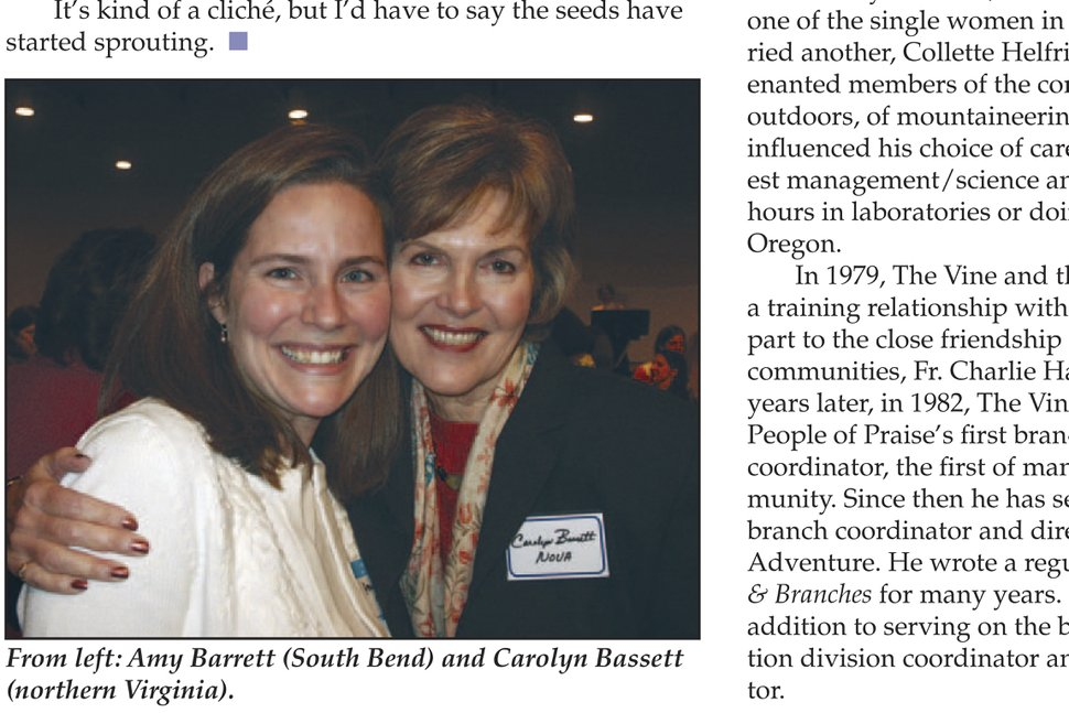 (People of Praise via AP) In this page from the May 2006 issue of Vine and Branches produced by People of Praise, Amy Coney Barrett is seen at left in the photo at a People of Praise Leaders' Conference for Women in 2006. Barrett, President Donald Trump's nominee for the U.S. Supreme Court, has close ties to People of Praise, a charismatic Christian religious group that holds men are divinely ordained as the