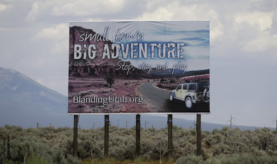 FILE - In this June 23, 2016, photo, a sign is shown near Blanding, Utah. (AP Photo/Rick Bowmer, File)