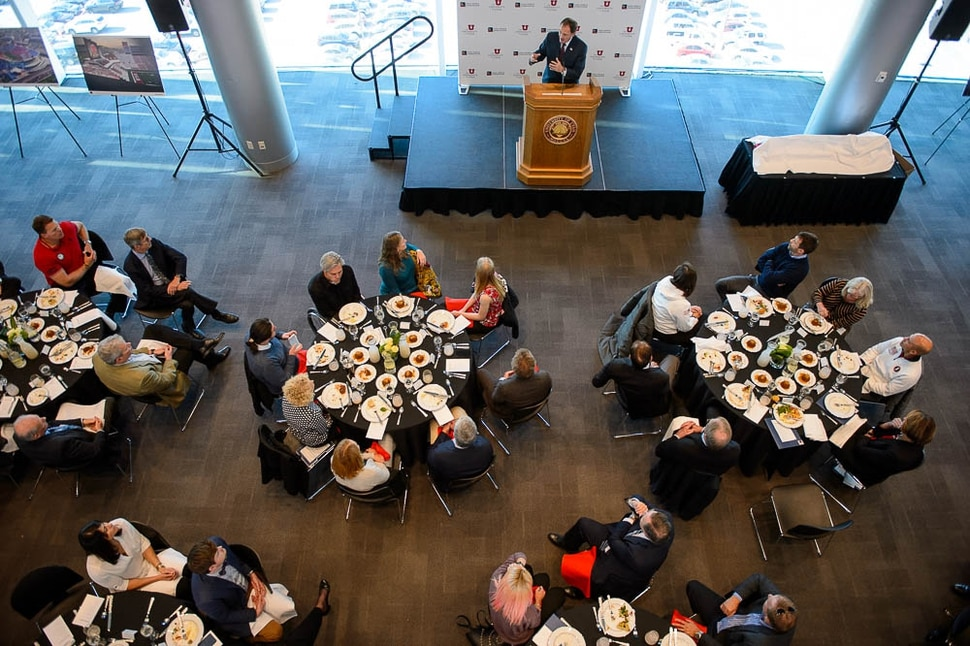 (Trent Nelson | The Salt Lake Tribune) Governor Gary Herbert speaks at a luncheon at Rice-Eccles Stadium during a visit by the USOC to Salt Lake City on Wednesday Nov. 14, 2018.