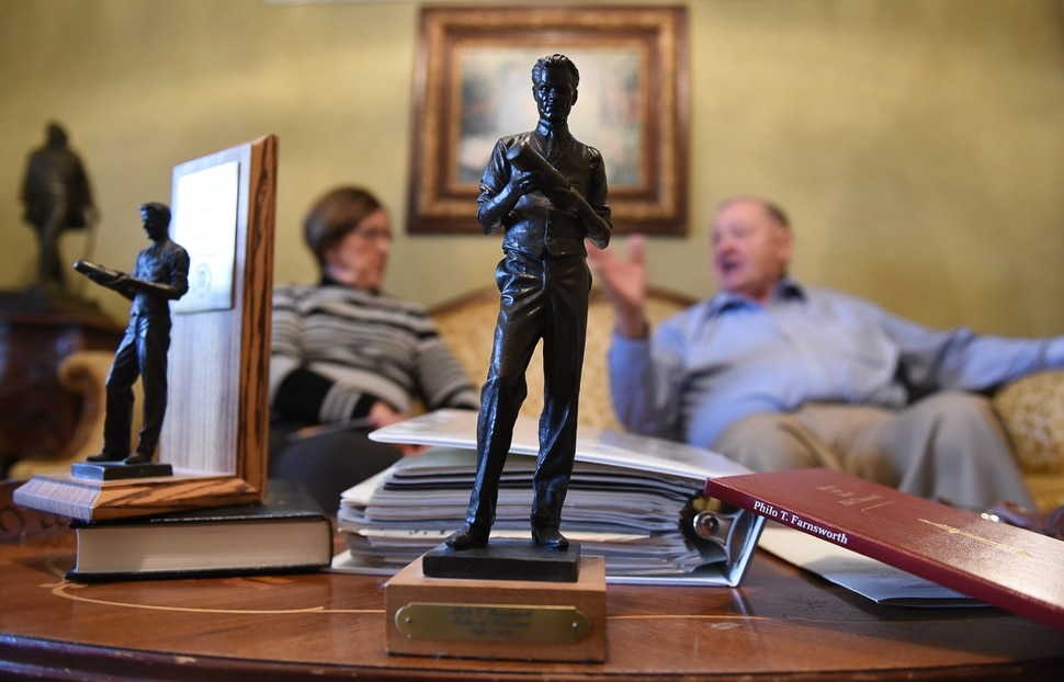(Francisco Kjolseth | The Salt Lake Tribune) A small replica of the statue of American inventor and television pioneer Philo T. Farnsworth has come to the forefront once again for Draper residents Treva and Bruce Barnson. Bruce, the former principal of Ridgecrest Elementary who lobbied the Legislature back in the late 80s to bring the larger than life statue to Statuary Hall in Washington D.C., is making the argument to keep it where it is after hearing the news that Sen. Todd Weiler has introduced a bill for January's legislative session to replace Farnsworth's statue with Martha Hughes Cannon, the first woman state senator.