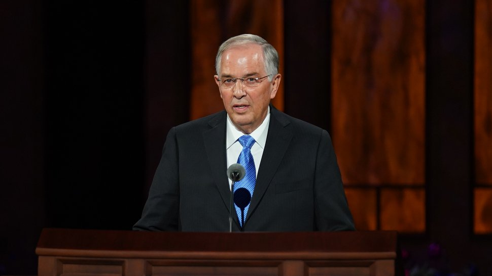 (Photo courtesy of The Church of Jesus Christ of Latter-day Saints) Apostle Neil L. Andersen speaks during the Sunday morning session of General Conference on Oct. 4, 2020.