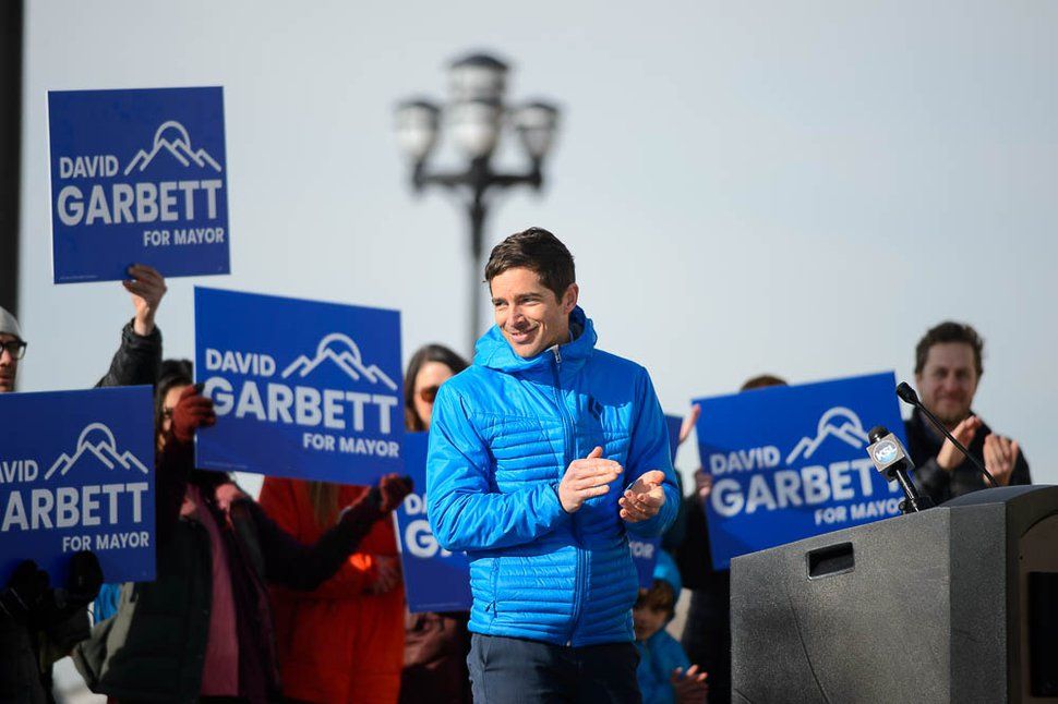 (Trent Nelson | The Salt Lake Tribune) Former Southern Utah Wilderness Alliance lawyer and executive director of the Pioneer Park Coalition, David Garbett launches his campaign for Salt Lake City mayor on Tuesday Feb. 12, 2019.