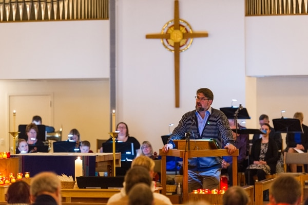 (Alex Gallivan | Special to the Tribune) The Rev. Curtis Price, First Baptist Church, speaks at All Saints Episcopal Church in Salt Lake City during a vigil to end gun violence before the fifth anniversary of the Sandy Hook Elementary School shooting