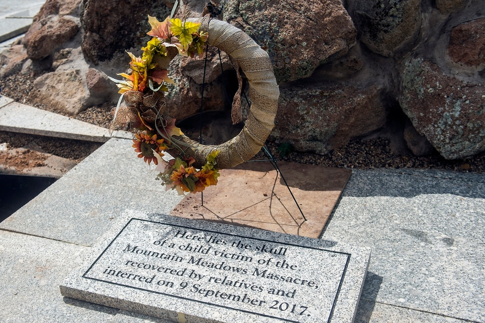 (Chris Detrick | The Salt Lake Tribune) The Mountain Meadows massacre grave site memorial Saturday, September 9, 2017. The funeral mourns not only the unknown young boy or girl whose head was ruptured by bullet fired by a Mormon settler in one of most inexplicable acts of violence in U.S. history, but all 20 of the children who were murdered to ensure they would not bear witness to the crime.