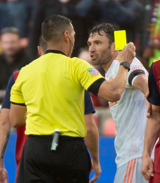 (Rick Egan | The Salt Lake Tribune). Atlanta United defender Michael Parkhurst (3) reacts after receiving a yellow card in MLS soccer action between Real Salt Lake and Atlanta United at Rio Tinto Stadium in Sandy, Friday, May 24, 2019.