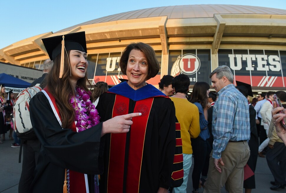 (Francisco Kjolseth | The Salt Lake Tribune) University of Utah President Ruth Watkins meets with students, including nursing graduate Caitlin Keenan, after commencement ceremonies on Thursday, May 3, 2018, at the Jon M. Huntsman Center.