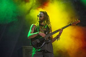 (Rick Egan  |  The Salt Lake Tribune)   Nick Loporchio plays bass for Iya Terra, as they perform at the Reggae Rise Up music Festival, at the Rivers Edge near Heber City, Saturday, Aug. 24, 2019.