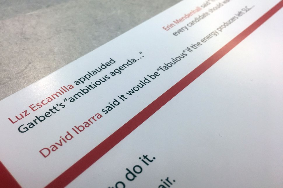 (Jeremy Harmon   The Salt Lake Tribune) Mayoral candidates are taking issue with a mailer from David Garbett that implies support for his campaign.