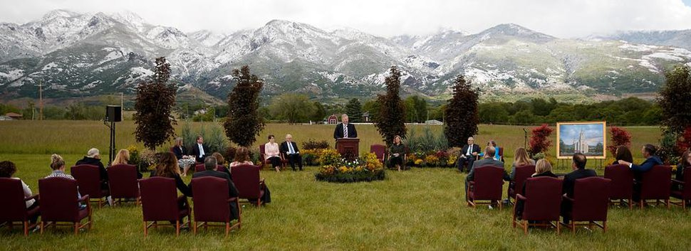 (Photo courtesy of The Church of Jesus Christ of Latter-day Saints) A small-scale, socially distanced groundbreaking ceremony takes place for the Layton Temple on May 23, 2020.