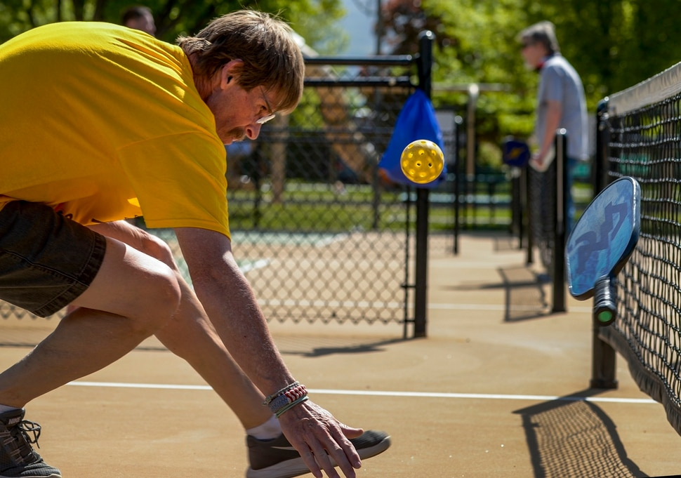(Leah Hogsten | The Salt Lake Tribune) They [Continue Mission] get me out and build my confidence, said Veteran Mark Meacham while making a dive to save a volley during pickleball at Hogan Park in Bountiful, May 14, 2019. Veteran suicide rates in Utah, are second highest, with the exception of Montana. The non-profit group Continue Mission serves the Veteran population to heal physical, mental, and emotional injuries through recreational programs like pickleball to promote health, mental well-being and positive life changing experiences.
