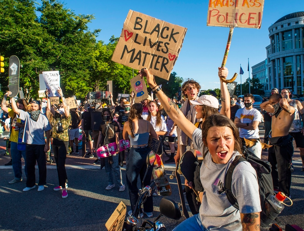 (Rick Egan | The Salt Lake Tribune) Skaters and skateboarders gather at Washington Square during the Black Lives Matter Skate for Solidarity protest in Salt Lake City, on Thursday, June 11, 2020.