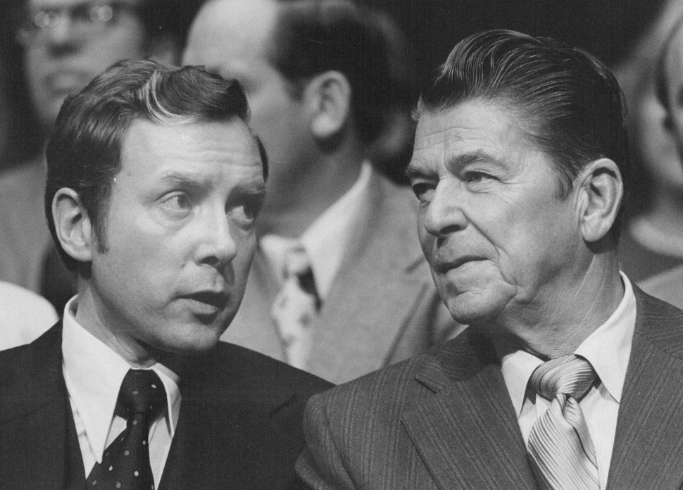 (Tribune file photo) Ronald Reagan and Orrin Hatch in 1976.
