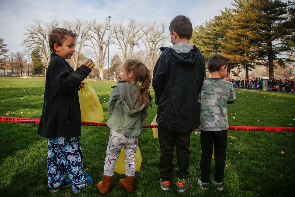 (Nicole Boliaux | For The Tribune) Children wait for the stroke of 9 o'clock to begin the annual Easter egg hunt put on by A Kid's Place Dentistry in Liberty Park in Salt Lake City on Saturday, March 31, 2018.