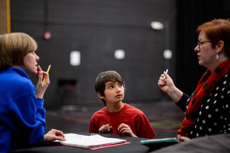 (Trent Nelson | The Salt Lake Tribune) Rehearsal for Utah Opera's The Little Prince, with director Tara Faircloth, right, and 11-year-old Nitai Fluchel in the title role of the Little Prince. In Salt Lake City on Friday Dec. 7, 2018.