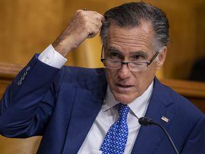 (Shawn Thew | Pool via AP) Sen. Mitt Romney, R-Utah, speaks during a Senate Budget Committee hearing June 8, 2021, on Capitol Hill in Washington.