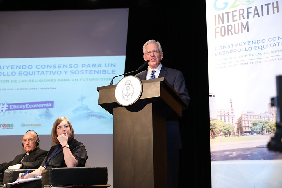 (Courtesy photo of The Church of Jesus Christ of Latter-day Saints) Elder D. Todd Christofferson speaks at the 2018 G20 Interfaith Forum in Buenos Aires, Argentina, Sept. 26, 2018.