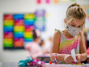 (Trent Nelson     The Salt Lake Tribune) Students wearing masks, working in Elizabeth Kunz's second grade class at Neil Armstrong Academy in West Valley City on Tuesday, Sept. 28, 2021.