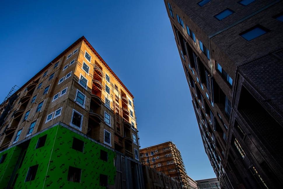 (Trent Nelson | The Salt Lake Tribune) Hardware Apartments, under construction in Salt Lake City on Monday Nov. 12, 2018.
