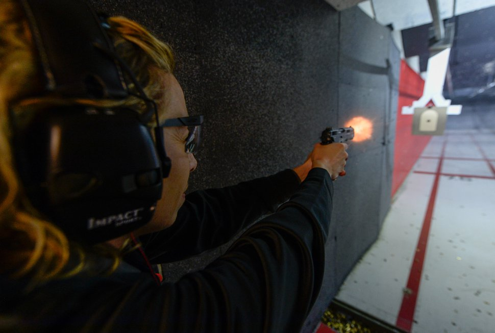 (Francisco Kjolseth   The Salt Lake Tribune) Tiffany Sowder of Morgan shoots a 9mm at The Gun Vault shooting range in South Jordan. Sowder is part of The Well-Armed Woman club that encourages women to conceal carry for safety. Of the concealed carry permits issued by the state, only about 1 in 5 is held by a woman.
