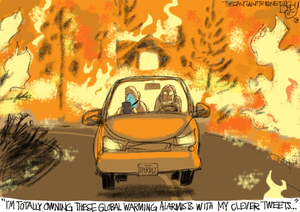 (Pat Bagley | The Salt Lake Tribune) This Pat Bagley cartoon titled Climate Denial Hot Take appears in The Salt Lake Tribune on Sunday, Nov. 11, 2018.