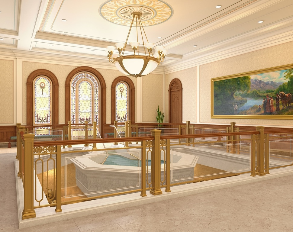 (Image courtesy of The Church of Jesus Christ of Latter-day Saints) An artist's rendering of the baptistry in The Church of Jesus Christ of Latter-day Saints' to-be-constructed Tooele Valley Utah Temple.