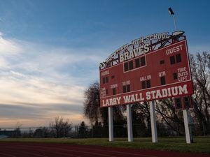 "(Francisco Kjolseth  |  The Salt Lake Tribune) Current naming is pictured around Bountiful High on Monday, Nov. 30, 2020 after the school announced it would to retire The Braves name. The school's new mascot will be ""The Redhawks,"" announced on Friday, April 9, 2021."